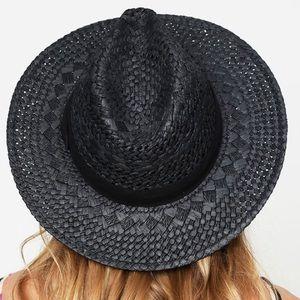 Black Woven Straw Fedora Panama Hat